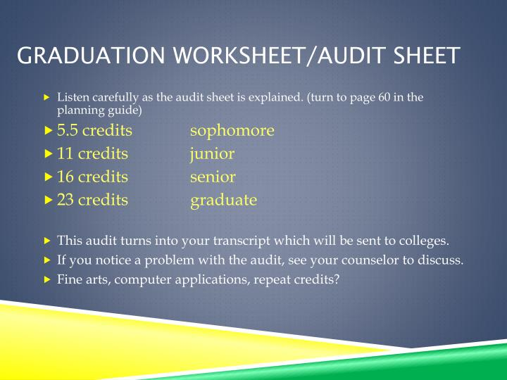 Graduation worksheet audit sheet