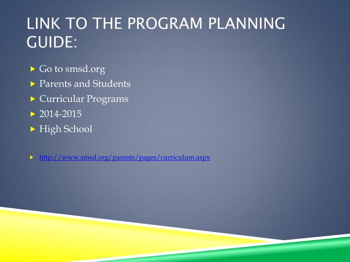 Link to the program planning guide: