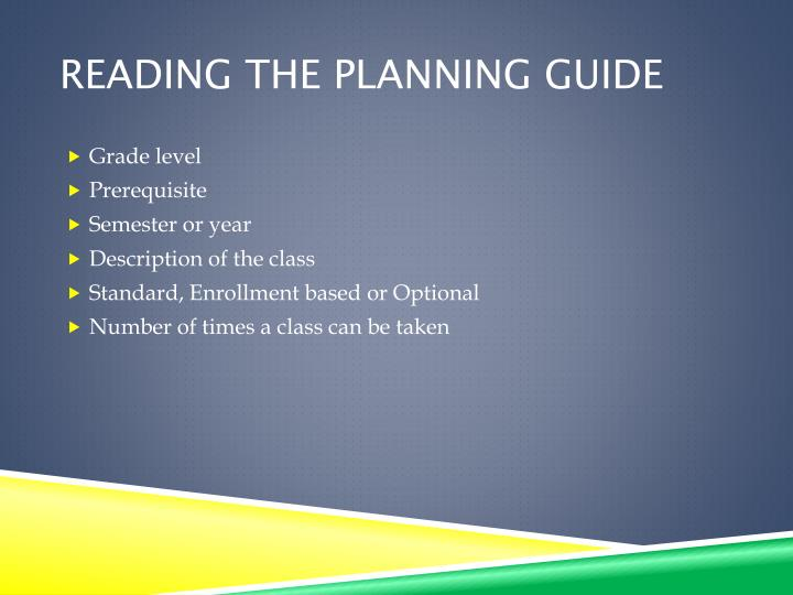 Reading the Planning Guide