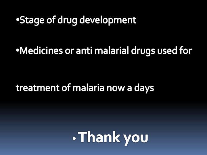 Stage of drug development