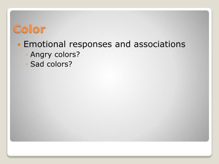 Emotional responses and associations