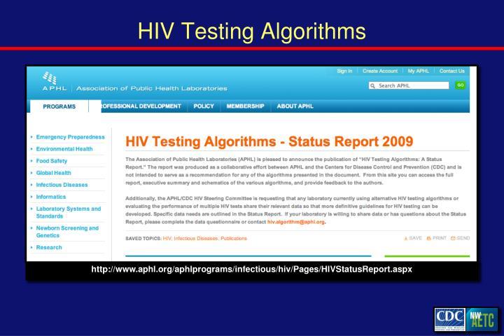 HIV Testing Algorithms