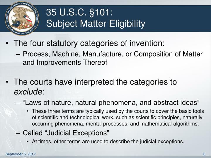 35 U.S.C. §101: