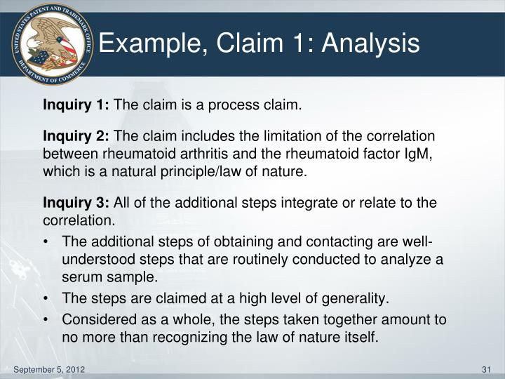 Example, Claim 1: Analysis