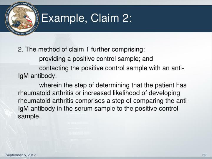 Example, Claim 2: