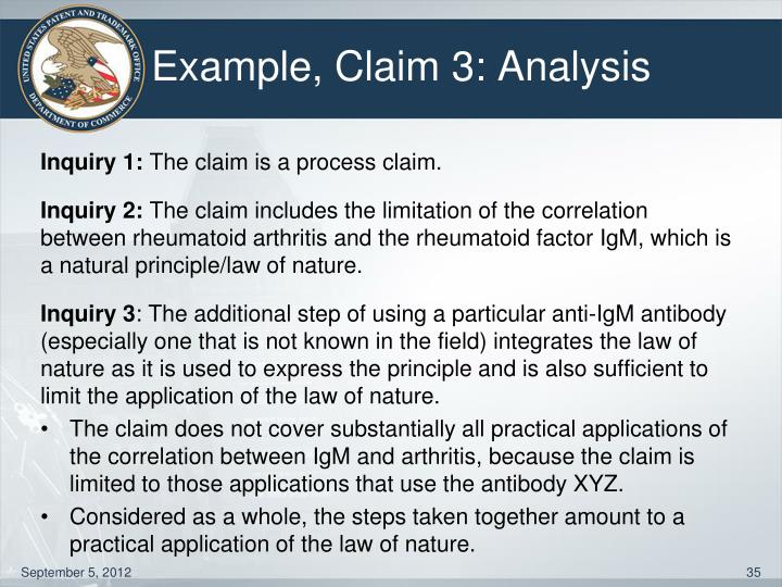Example, Claim 3: Analysis