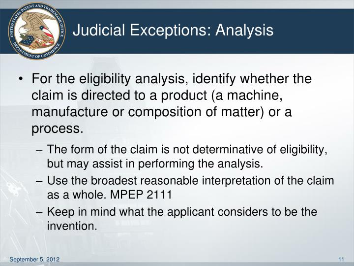 Judicial Exceptions: Analysis