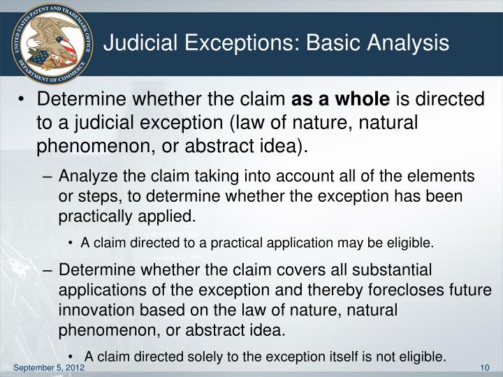 Judicial Exceptions: Basic Analysis