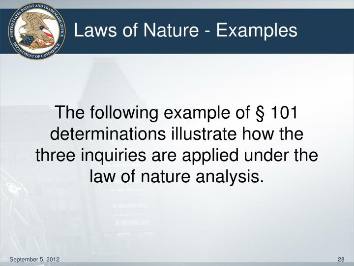Laws of Nature - Examples