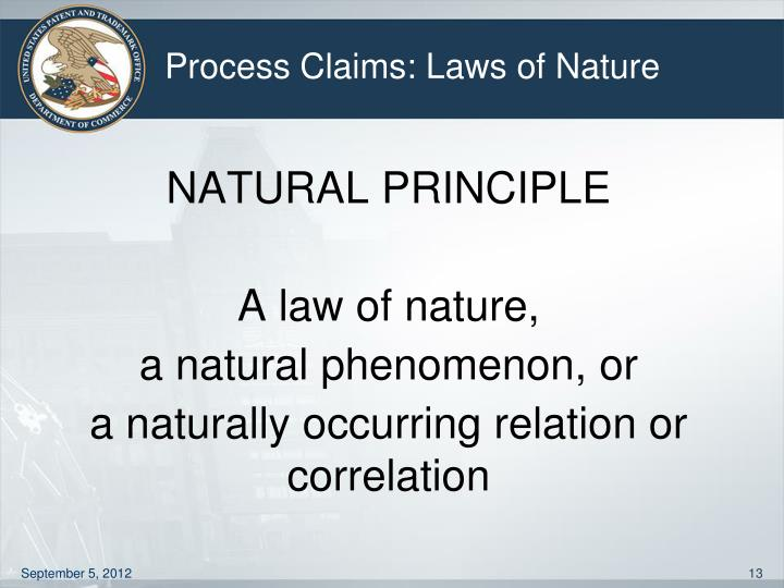 Process Claims: Laws of Nature