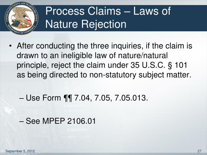 Process Claims – Laws of Nature Rejection