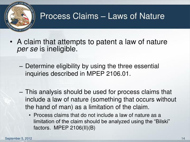 Process Claims – Laws of Nature