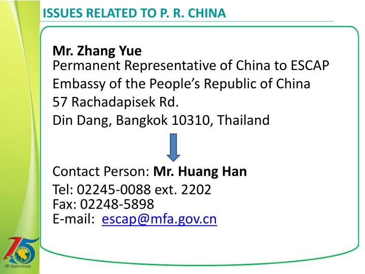 Issues Related to P. R. China