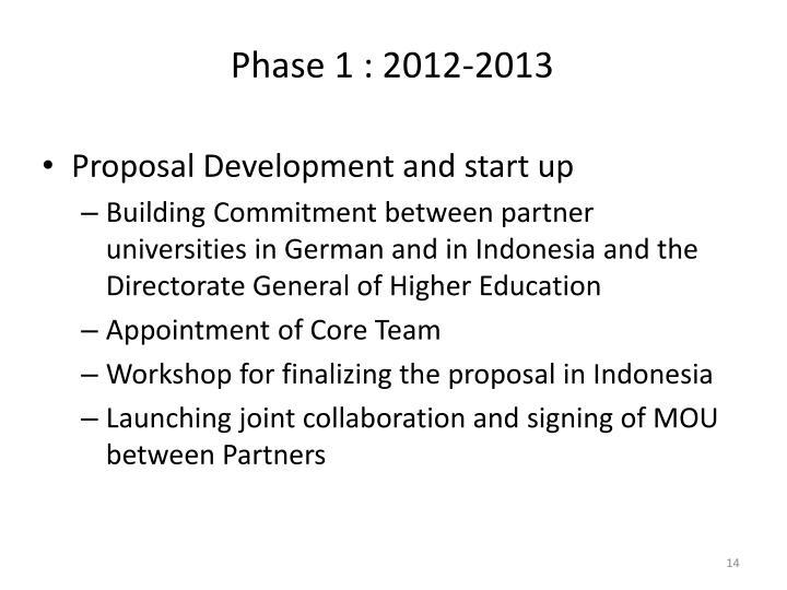 Phase 1 : 2012-2013