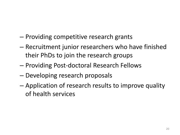 Providing competitive research grants