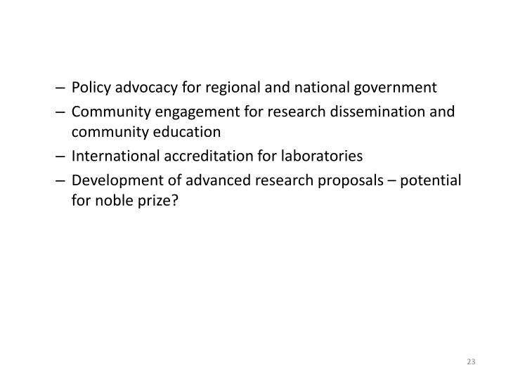 Policy advocacy for regional and national government