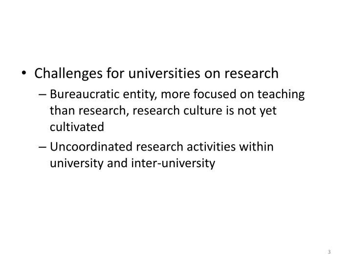 Challenges for universities on research