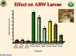 effect on abw larvae