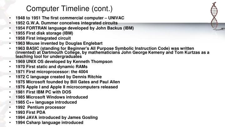 Computer Timeline (cont.)