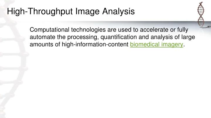 High-Throughput Image Analysis