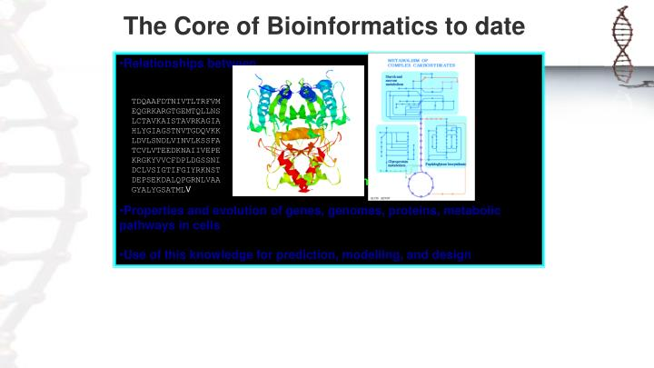 The Core of Bioinformatics to date
