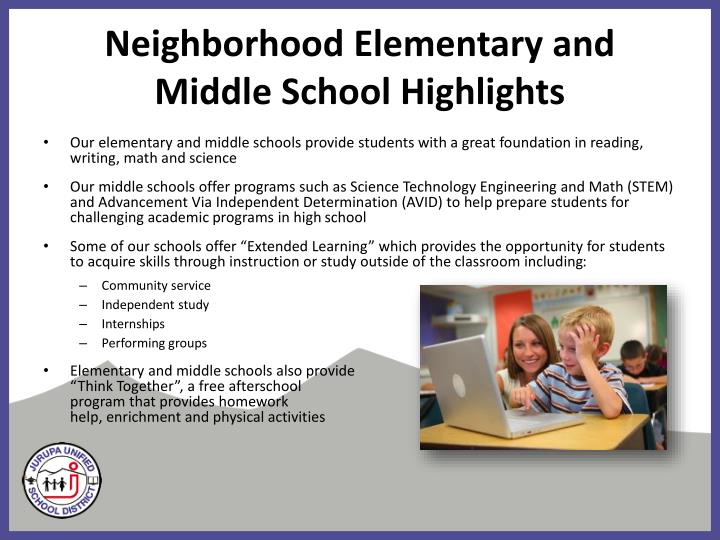 Neighborhood Elementary and Middle School Highlights