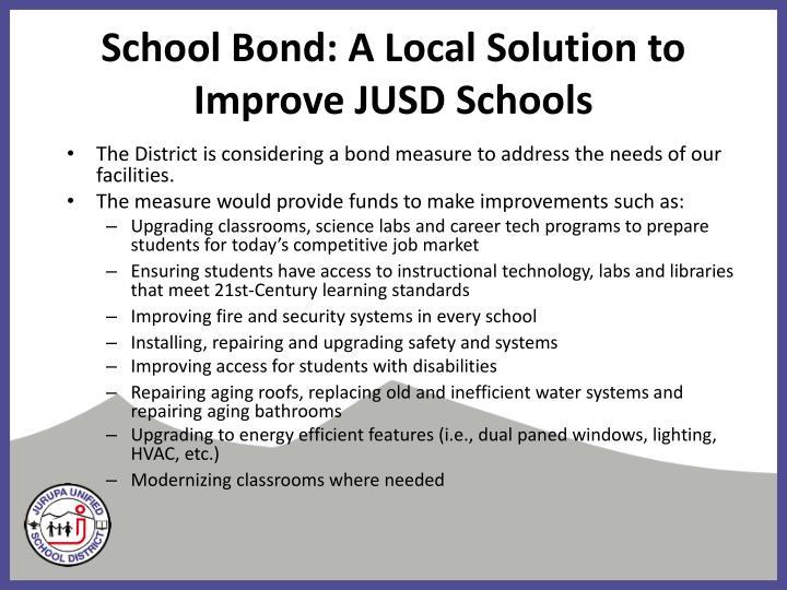 School Bond: A Local Solution to Improve JUSD Schools