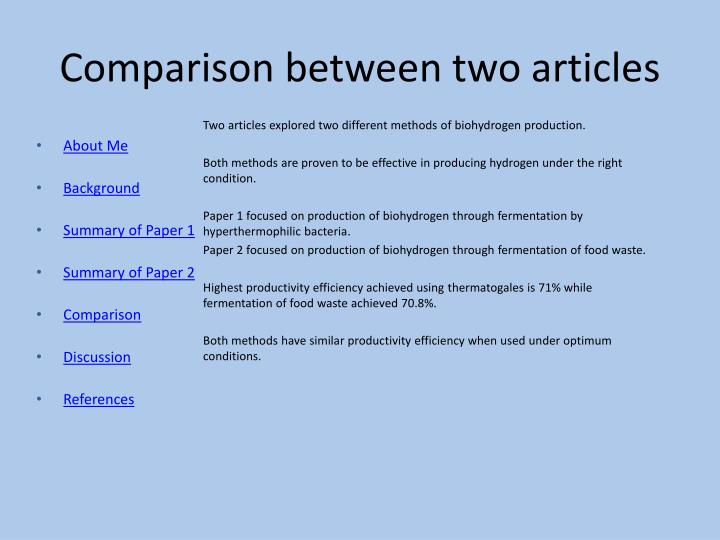 Comparison between two articles