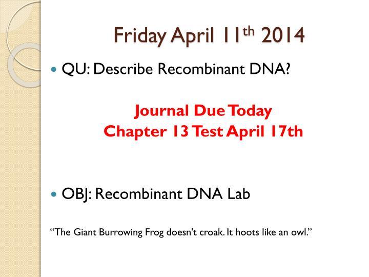 Friday April 11