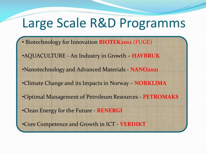 Large Scale R&D Programms