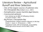 literature review agricultural runoff and river selection