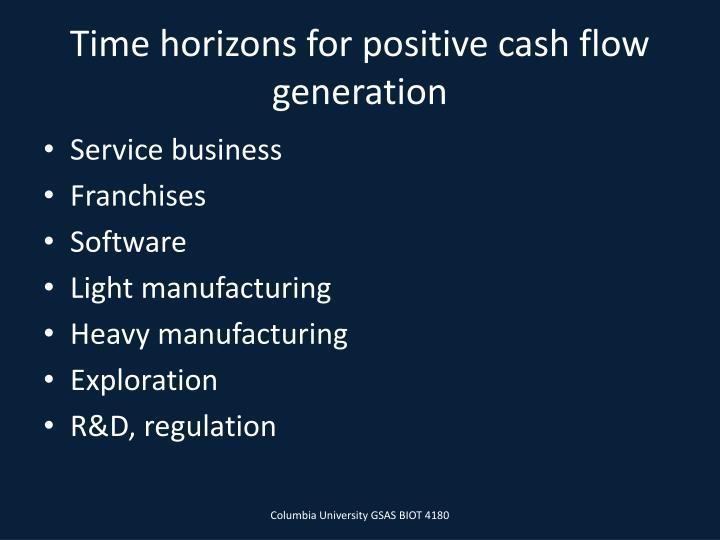 Time horizons for positive cash flow generation