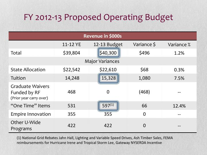 FY 2012-13 Proposed Operating Budget