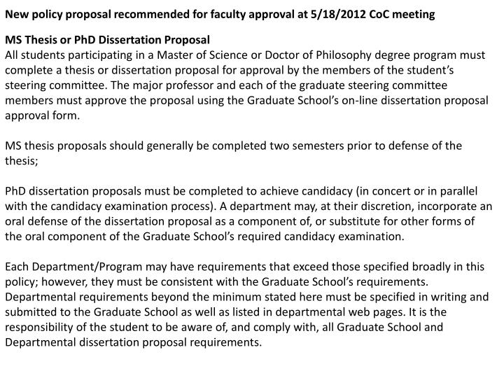 New policy proposal recommended for faculty approval at 5/18/2012 CoC meeting