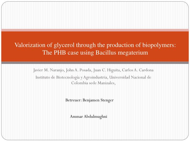 Valorization of glycerol through the production of biopolymers: The PHB