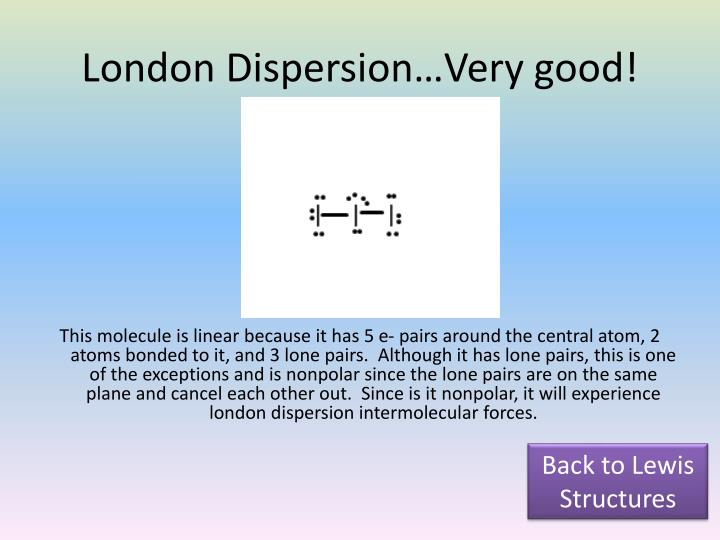 London Dispersion…Very good!