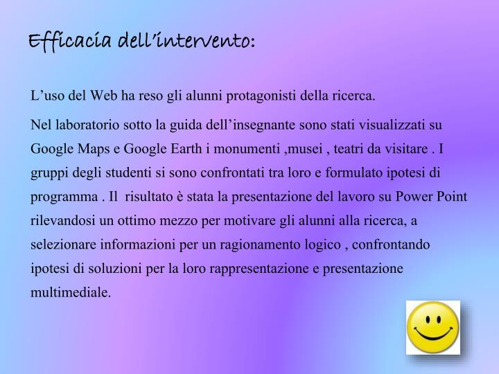 Efficacia dell'intervento:
