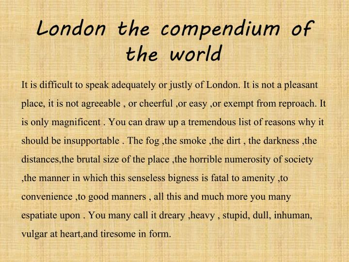 London the compendium of the world
