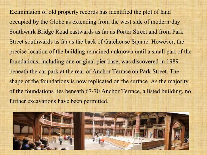 Examination of old property records has identified the plot of land occupied by the Globe as extending from the west side of modern-day