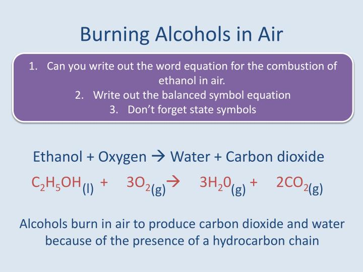Burning Alcohols in Air