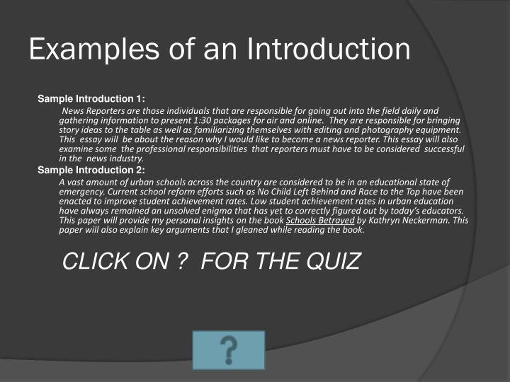 Examples of an Introduction