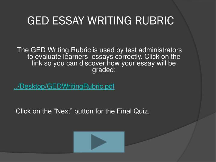 GED ESSAY WRITING RUBRIC