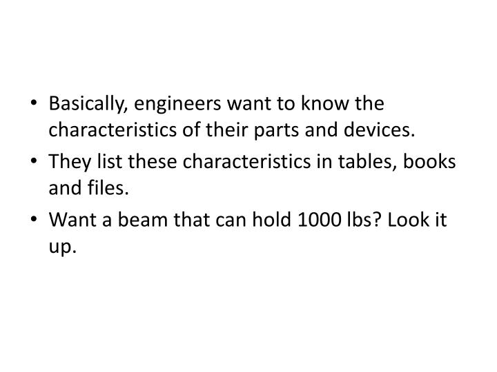 Basically, engineers want to know the characteristics of their parts and devices.