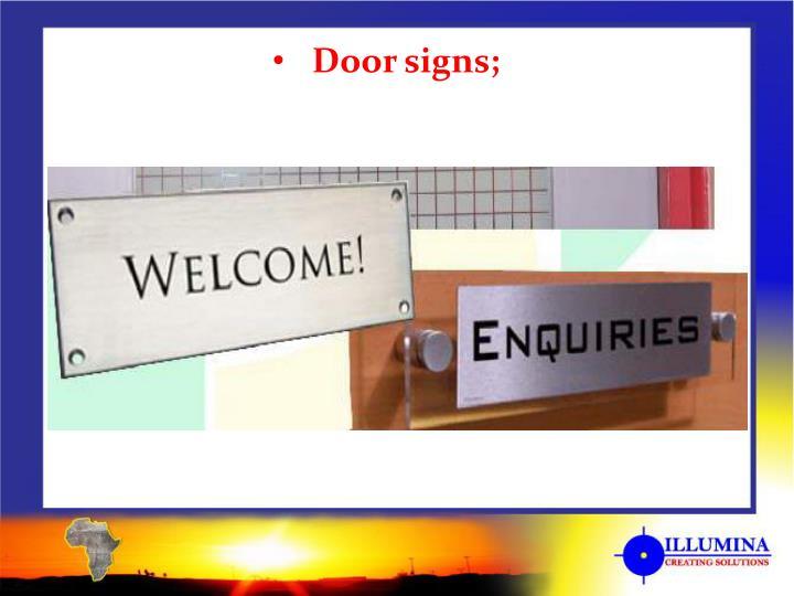 Door signs;