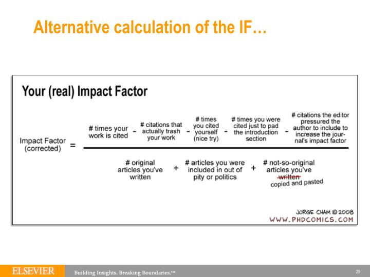 Alternative calculation of the IF…
