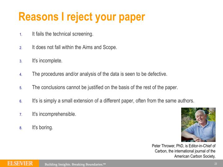 Reasons I reject your paper