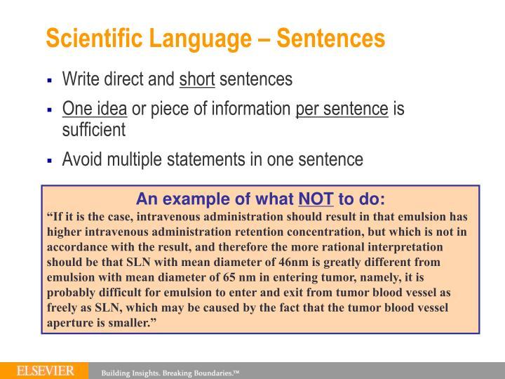 Scientific Language – Sentences