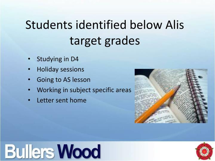 Students identified below
