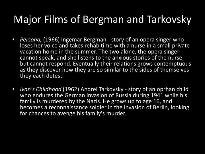 Major Films of Bergman and