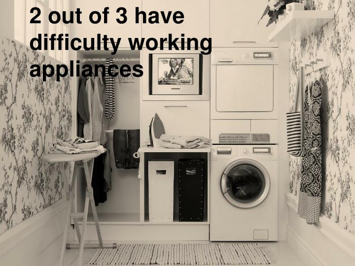 2 out of 3 have difficulty working appliances